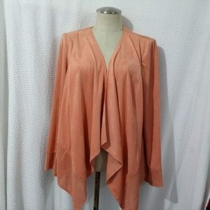 CHICO'S  PINK Polyester Blend Open Front CARDIGAN